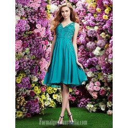 Australia Cocktail Party Dress Jade A-line V-neck Short Knee-length Chiffon