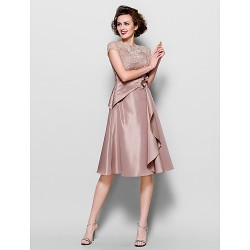 A-line Plus Sizes Dresses Petite Mother of the Bride Dress Brown Short Knee-length Short Sleeve Lace Taffeta