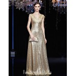 Australia Formal Evening Dress Gold Black A-line V-neck Long Floor-length Sequined Formal Dress Australia
