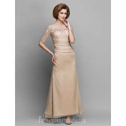 A-line Mother of the Bride Dress Champagne Ankle-length Half Sleeve Chiffon
