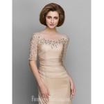 A-line Mother of the Bride Dress Champagne Ankle-length Half Sleeve Chiffon Formal Dress Australia