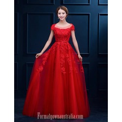 Australia Formal Dress Evening Gowns Ruby White A-line Scoop Long Floor-length Lace Dress
