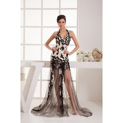 Australia Formal Dress Evening Gowns Black Petite A-line Halter Short Knee-length Court Train Tulle