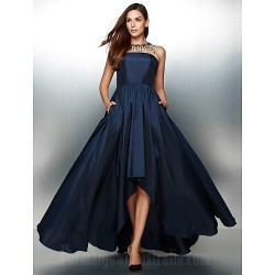 Australia Formal Dress Evening Gowns Ink Blue A Line Jewel Asymmetrical Taffeta