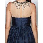 Australia Formal Dress Evening Gowns Ink Blue A-line Jewel Asymmetrical Taffeta Formal Dress Australia