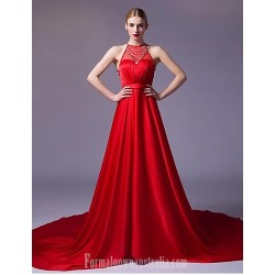 Australia Formal Dress Evening Gowns Ruby Silver A Line Strapless Chapel Train Satin