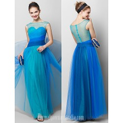 Australia Formal Dress Evening Gowns Multi-color A-line Bateau Ankle-length Tulle