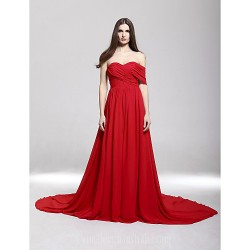 Australia Formal Dress Evening Gowns Ruby Plus Sizes Dresses Petite A Line Off The Shoulder Sweetheart Court Train Chiffon