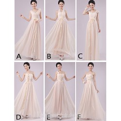 Mix Match Dresses Long Floor Length Chiffon 5 Styles Bridesmaid Dresses