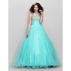 Dress Multi-color Plus Sizes Dresses Petite A-line Scoop Long Floor-length Tulle Dress