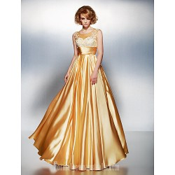 Dress Gold Plus Sizes Dresses Petite A-line Scoop Long Floor-length Stretch Satin