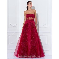 Australia Formal Dress Evening Gowns Prom Gowns Military Ball Dress Burgundy Plus Sizes Dresses Petite A-line Princess Strapless Long Floor-length Satin Organza