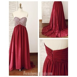 Australia Formal Dress Evening Gowns Burgundy A-line Sweetheart Court Train Chiffon