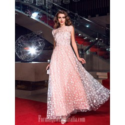 Australia Formal Evening Dress Prom Gowns Military Ball Dress Pearl Pink Plus Sizes Dresses Petite A-line Jewel Long Floor-length Tulle Dress