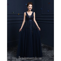 Australia Formal Dress Evening Gowns Dark Navy Ball Gown V-neck Long Floor-length Lace Dress Tulle