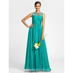 Bridesmaid Dress Floor Length Chiffon and Tulle Sheath Column Scoop Dress