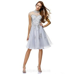 Australia Formal Dresses Cocktail Dress Party Dress Silver A Line High Neck Short Knee Length Chiffon