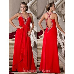 Australia Formal Dress Evening Gowns Prom Gowns Military Ball Dress Ruby Plus Sizes Dresses Petite A-line Princess V-neck Straps Long Floor-length Chiffon