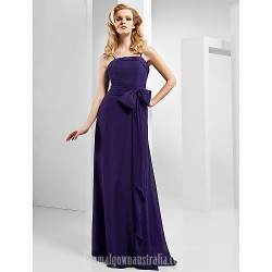 A-line Spaghetti Straps Long Floor-length Chiffon Evening Dress