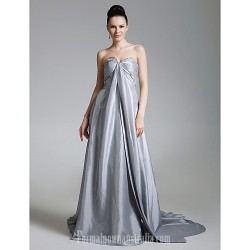 Australia Formal Dress Evening Gowns Silver Plus Sizes Dresses Petite A-line Princess Strapless Sweetheart Court Train Taffeta