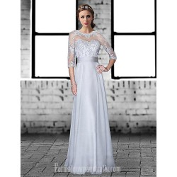 Australia Formal Dress Evening Gowns Silver Plus Sizes Dresses Petite A Line Jewel Long Floor Length Chiffon Lace