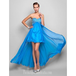 Australia Formal Dresses Cocktail Dress Party Dress Homecoming Holiday Dress Ocean Blue Plus Sizes Dresses Petite A-line Sweetheart Asymmetrical Chiffon