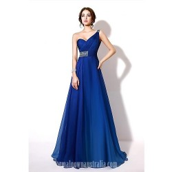 Australia Formal Dress Evening Gowns Burgundy Royal Blue A-line Sexy One Shoulder Long Floor-length Chiffon