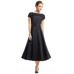 Australia Cocktail Party Dress Black A-line Scoop Tea-length Taffeta