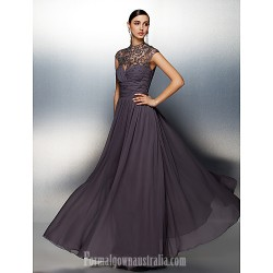 Australia Formal Dress Evening Gowns Silver Plus Sizes Dresses Petite A Line High Neck Long Floor Length Chiffon