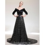 Australia Formal Evening Dress Black Plus Sizes Dresses Petite A-line V-neck Off-the-shoulder Court Train Satin Sequined Formal Dress Australia