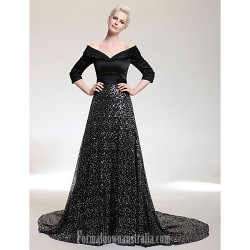 Australia Formal Dress Evening Gowns Black Plus Sizes Dresses Petite A-line V-neck Off-the-shoulder Court Train Satin Sequined