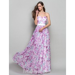 Australia Formal Dress Evening Gowns Prom Gowns Military Ball Dress Print Plus Sizes Dresses Petite A Line Princess Strapless Sweetheart Long Floor Length Chiffon