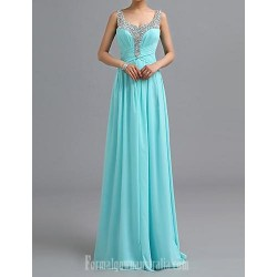 Australia Formal Dress Evening Gowns Pool Petite A Line Scoop Long Floor Length Chiffon