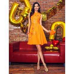 Australia Cocktail Party Dress Orange A-line Jewel Short Knee-length Chiffon