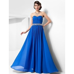 Australia Formal Evening Dress Prom Gowns Military Ball Dress Royal Blue Plus Sizes Dresses Petite A-line Princess Sweetheart Strapless Long Floor-length Chiffon