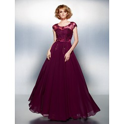Dress Grape Plus Sizes Dresses Petite A-line Scoop Long Floor-length Chiffon