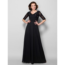 A Line Plus Sizes Dresses Petite Mother Of The Bride Dress Black Long Floor Length Half Sleeve Chiffon Lace