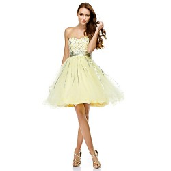 Australia Formal Dresses Cocktail Dress Party Dress Daffodil A Line Sweetheart Short Knee Length Tulle