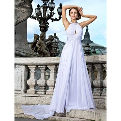 Australia Formal Dress Evening Gowns White Plus Sizes Dresses Petite A-line Princess Jewel Long Floor-length Watteau Train Chiffon