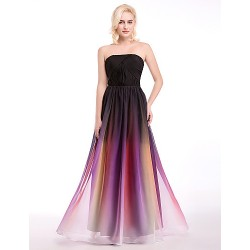 Australia Formal Dress Evening Gowns Multi-color Ball Gown Strapless Long Floor-length Chiffon