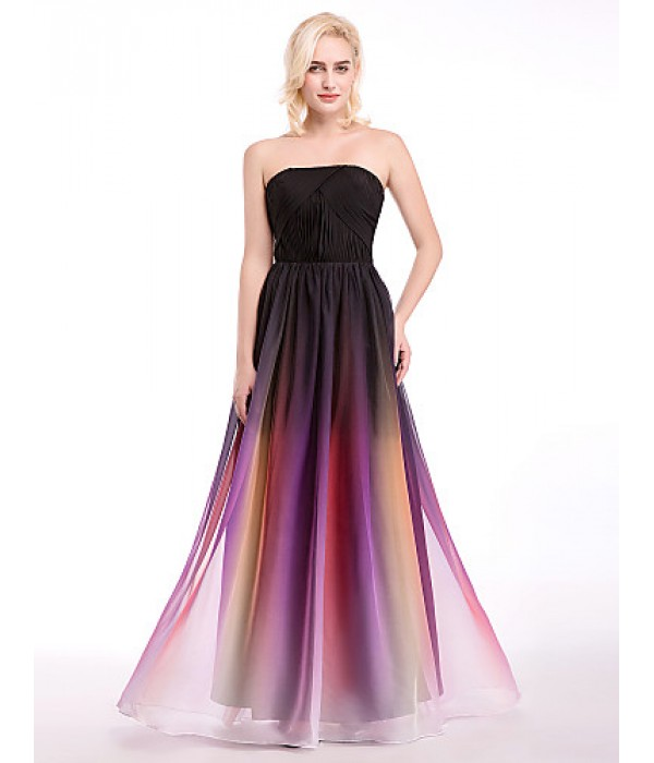 Australia Formal Dress Evening Gowns Multi-color Ball Gown Strapless Long Floor-length Chiffon Formal Dress Australia