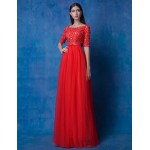 Australia Formal Dress Evening Gowns Ruby A-line Jewel Long Floor-length Lace Dress Tulle Formal Dress Australia