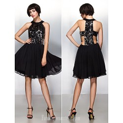 Australia Cocktail Party Dress Champagne A-line Halter Short Knee-length Chiffon Sequined