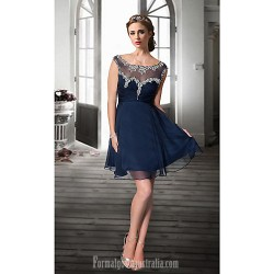 Australia Formal Dresses Cocktail Dress Party Dress Dark Navy Plus Sizes Dresses Petite A-line Jewel Short Knee-length Organza