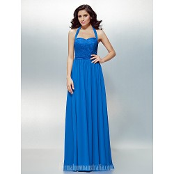 Australia Formal Dress Evening Gowns Royal Blue Plus Sizes Dresses Petite A-line Halter Long Floor-length Chiffon Lace