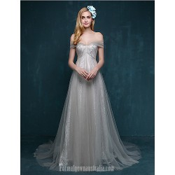 Australia Formal Evening Dress Silver A-line Sweetheart Court Train Lace Tulle