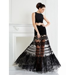 Australia Formal Dress Evening Gowns Black Plus Sizes Dresses Petite A-line Jewel Long Floor-length Lace Dress Satin