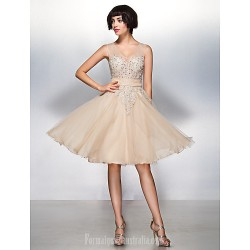Australia Formal Dresses Cocktail Dress Party Dress Champagne A Line V Neck Short Knee Length Tulle