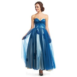 Australia Formal Dress Evening Gowns Ink Blue A-line Sweetheart Ankle-length Tulle