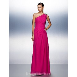 Prom Gowns Australia Formal Dress Evening Gowns Fuchsia Plus Sizes Dresses Petite A-line Sexy One Shoulder Long Floor-length Chiffon